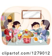 Clipart Of A Happy Asian Family Eating A Fast Food Dinner Royalty Free Vector Illustration