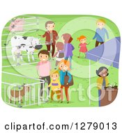 Clipart Of Families Viewing Farm Animals At An Expo Event Royalty Free Vector Illustration by BNP Design Studio