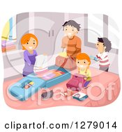 Clipart Of A Happy Family Packing Luggage For Vacation Royalty Free Vector Illustration