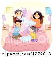 Clipart Of A Happy Asian Family Engaged In A Pillow Fight Royalty Free Vector Illustration by BNP Design Studio