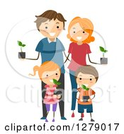 Clipart Of A Happy Caucasian Family Holding Seedling Plants Royalty Free Vector Illustration