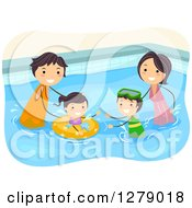 Clipart Of A Happy Asian Family Plaing In A Swimming Pool Royalty Free Vector Illustration by BNP Design Studio