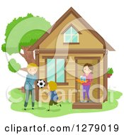 Clipart Of A Happy Mom Bring Water To Her Son And His Father While They Play Soccer In The Yard Royalty Free Vector Illustration
