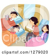 Clipart Of A Happy Family Reading And Resting On A Sleeper Train Royalty Free Vector Illustration by BNP Design Studio