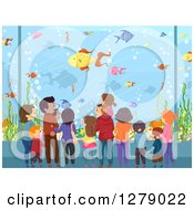 Clipart Of A Rear View Of Families Watching Fish At An Aquarium Royalty Free Vector Illustration