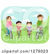 Clipart Of A Happy White Family Riding Bicycles In A Park Royalty Free Vector Illustration