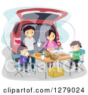 Clipart Of A Happy Asian Family Having A Picnic At The Back Of Their Car Royalty Free Vector Illustration by BNP Design Studio