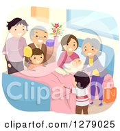 Clipart Of Happy Caucasian Grandparents And Family Visiting A Woman After Giving Birth Royalty Free Vector Illustration