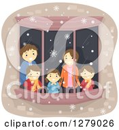Clipart Of A Happy Caucasian Family Watching Snow Through A Window Royalty Free Vector Illustration by BNP Design Studio