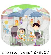 Clipart Of A Happy Asian Family Eating At An Outdoor Restaurant Royalty Free Vector Illustration