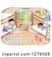 Clipart Of Happy Boys Hanging Out In A Camp Cabin Royalty Free Vector Illustration by BNP Design Studio