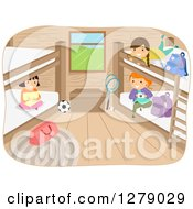 Clipart Of Happy Girls Hanging Out In A Camp Cabin Royalty Free Vector Illustration by BNP Design Studio