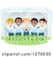Clipart Of A Boys Soccer Team Posing In Front Of A Goal Net Royalty Free Vector Illustration