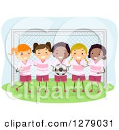 Clipart Of A Girls Soccer Team Posing In Front Of A Goal Net Royalty Free Vector Illustration