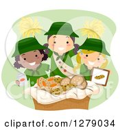 Clipart Of Happy Scout Girls Selling Cookies And Cheering Royalty Free Vector Illustration