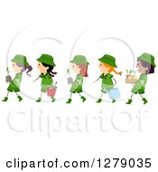 Clipart Of A Line Of Happy Scout Girls Carrying Plants And Tools Royalty Free Vector Illustration