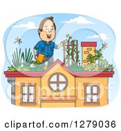 Clipart Of A Cartoon Brunette White Man Watering Plants In A Roof Top Garden Royalty Free Vector Illustration