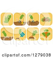 Clipart Of Square Gardener Icons Royalty Free Vector Illustration