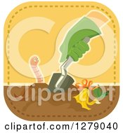 Clipart Of A Gloved Gardeners Hand Digging In Compost By An Earthworm Royalty Free Vector Illustration