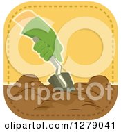 Clipart Of A Gloved Gardeners Hand Digging Royalty Free Vector Illustration