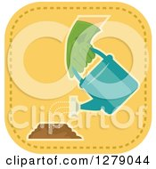 Clipart Of A Gloved Gardeners Hand Watering A Pile Royalty Free Vector Illustration