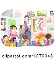 Clipart Of Happy Students And Teachers Viewing Art In A Museum Royalty Free Vector Illustration