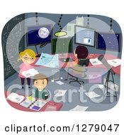 Clipart Of Happy Students Working In A Theoretical Research Room Royalty Free Vector Illustration by BNP Design Studio