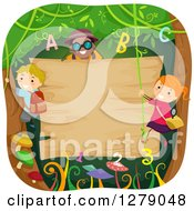 Happy Children Climbing And Swinging On Vines With Letters And Numbers Around A Blank Jungle Sign