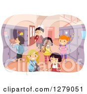 Clipart Of Happy Students In A Locker Hallway At School Royalty Free Vector Illustration