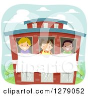 Clipart Of Happy Children Holding A Banner Through School Windows Royalty Free Vector Illustration by BNP Design Studio
