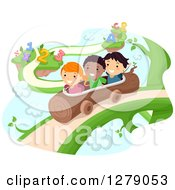 Clipart Of Happy Students Riding A Log On A Fantasy Vine With Numbers And Alphabet Letters Royalty Free Vector Illustration