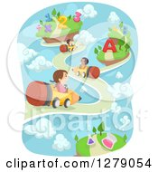 Clipart Of Imaginative Happy School Students Riding Pencil Carts On A Road With Numbers And Alphabet Letters Royalty Free Vector Illustration