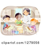 Clipart Of Happy Home Economics Students And A Teacher Making Pizza Royalty Free Vector Illustration