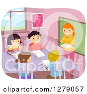 Clipart Of Happy Students And A Teacher Reading And Taking Notes In Class Royalty Free Vector Illustration