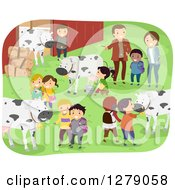 Clipart Of Happy Students And Teachers At A Dairy Farm Field Trip With Cows At A Barn Royalty Free Vector Illustration