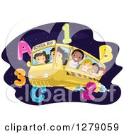 Clipart Of Happy Students Flying On A Bus Through Outer Space With Numbers And Letters Royalty Free Vector Illustration by BNP Design Studio