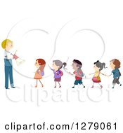 Clipart Of Happy School Students In Line Listening To A Teacher During A Drill Royalty Free Vector Illustration