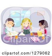 Clipart Of Happy School Girls Reading And Studying Together Royalty Free Vector Illustration