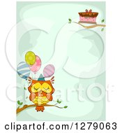 Cute Birthday Owl With A Cake And Balloons On Branches Around Text Space