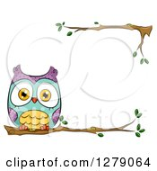 Clipart Of A Cute Perched Owl On A Branch Border Royalty Free Vector Illustration by BNP Design Studio