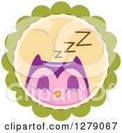 Clipart Of A Cute Sleeping Purple Owl On A Green Badge Royalty Free Vector Illustration
