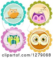 Clipart Of Cute Owls On Badges Royalty Free Vector Illustration