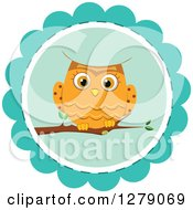 Clipart Of A Cute Orange Owl Perched On A Blue Badge Royalty Free Vector Illustration by BNP Design Studio