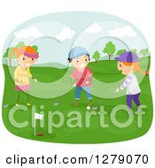 Clipart Of Happy Children Playing Golf On A Course Royalty Free Vector Illustration