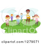 Clipart Of A Male Coach Teaching Children How To Play Golf Royalty Free Vector Illustration by BNP Design Studio