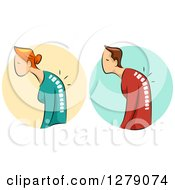 Hunched White Woman And Man And Visible Spines With Osteoporosis Over Circles