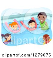 Clipart Of A Black Male Coach Teaching Children How To Swim With Pool Noodles Royalty Free Vector Illustration by BNP Design Studio