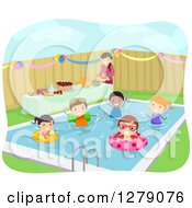 Clipart Of Happy Stick Children Swimming At A Birthday Pool Party Royalty Free Vector Illustration by BNP Design Studio