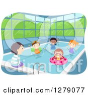 Clipart Of Happy Kids Soaking Their Feet And Swimming At An Indoor Pool Royalty Free Vector Illustration by BNP Design Studio