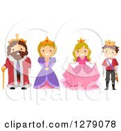 Clipart Of Happy Kids Wearing Royal Family Member Costumes Of A King Queen Princess And Prince Royalty Free Vector Illustration